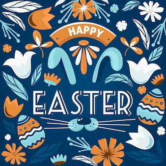 Pâques dessiné à la main avec des fleurs de printemps