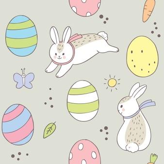 Pâques jour lapin et modèle sans couture d'oeufs colorés