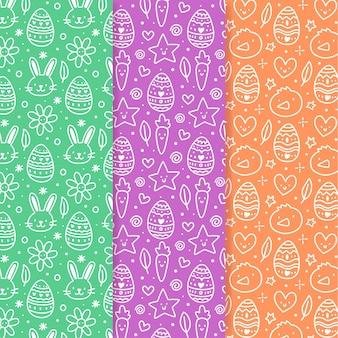 Pâques modèle sans couture doodles dessinés à la main