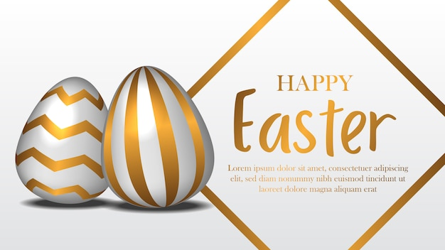Pâques avec oeuf réaliste avec décor doré
