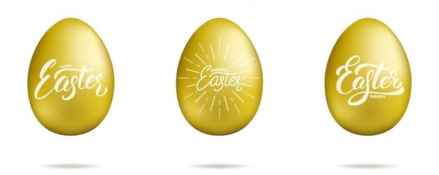 Pâques. oeufs d'or avec lettrage de script joyeuses pâques. ensemble d'éléments de conception de vacances de pâques
