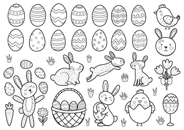 Pâquesélémentsnoir et blanc