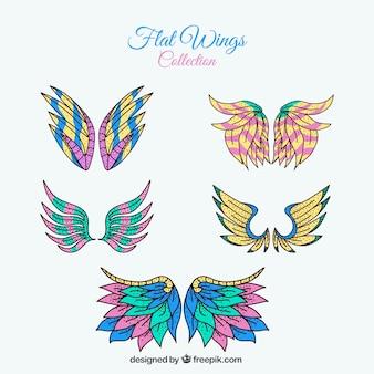 Paquet d'ailes fantastiques dessinées à la main