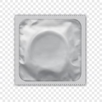 Paquet d'aluminium blanc réaliste pour préservatif.