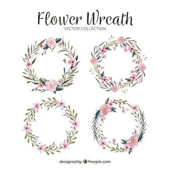 Paquet d'aquarelle de couronnes florales
