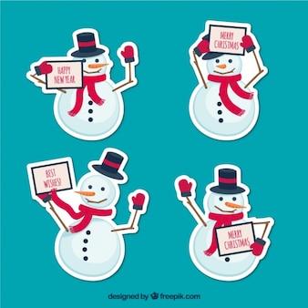 Paquet de autocollants mignons de bonhommes de neige avec un message de noël