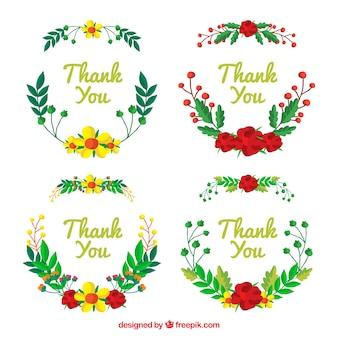 Paquet d'autocollants de remerciement avec des couronnes florales