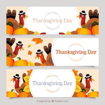 Paquet de bannières thanksgiving plat avec des dindes et des citrouilles
