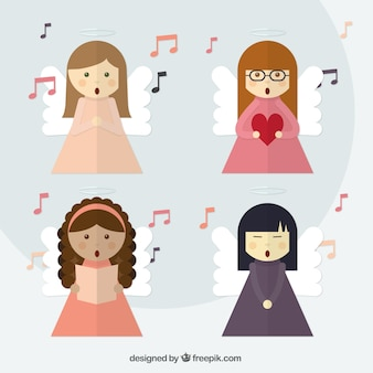 Paquet de beaux anges chantant dans la conception plate