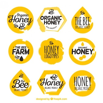 Paquet de beaux autocollants de miel biologique
