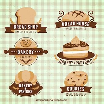 Paquet de beaux produits de boulangerie badges