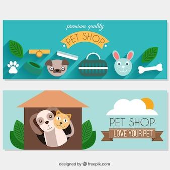 Paquet de belles bannières avec des animaux