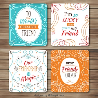 Paquet de belles cartes d'amitié décoratifs