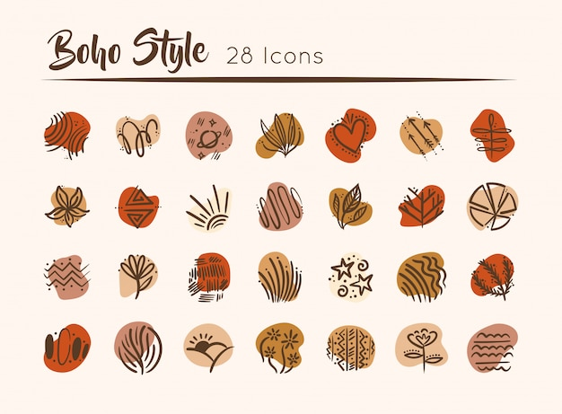 Paquet de boho set icons illustration