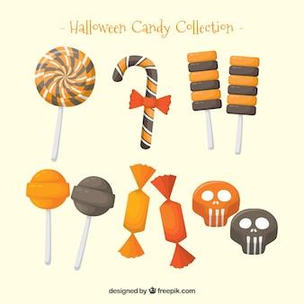 Paquet de bonbons délicieux et sucettes de halloween