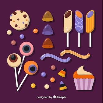 Paquet de bonbons à l'halloween plats