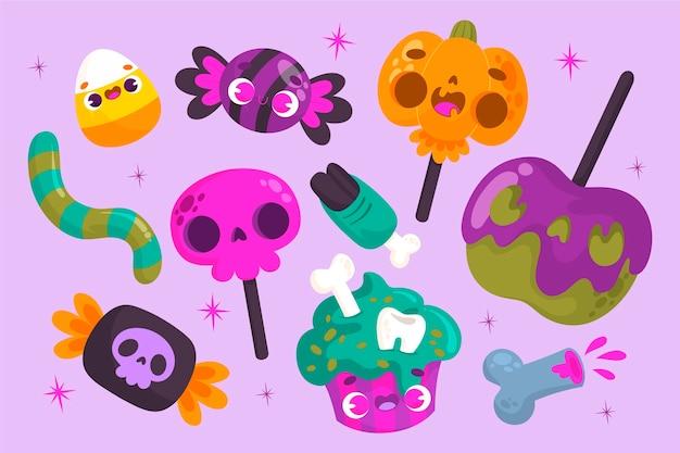 Paquet de bonbons d'halloween de style dessiné à la main
