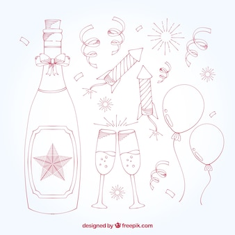 Paquet de bouteille de champagne avec de nouveaux éléments de l'année