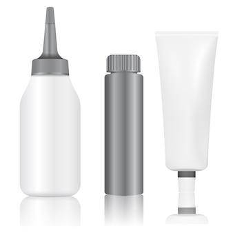 Paquet de bouteille de tube de peinture de couleur de cheveux de colorant. emballage en argent de produit capillaire isolé.