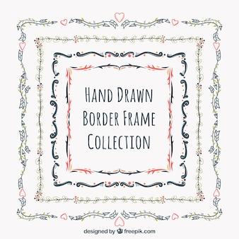 Paquet de cadres avec des bordures décoratives dessiné à la main