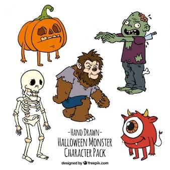 Paquet de caractères de halloween dessinés à la main