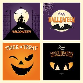 Paquet de cartes halloween effrayant