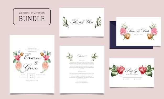 Paquet de cartes d'invitation de mariage avec aquarelle floral et modèle de feuilles