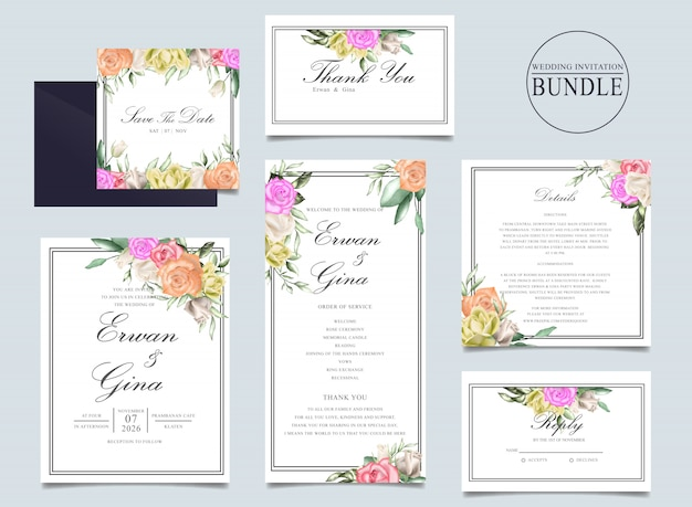 Paquet de cartes d'invitation de mariage avec aquarelle florale et feuilles