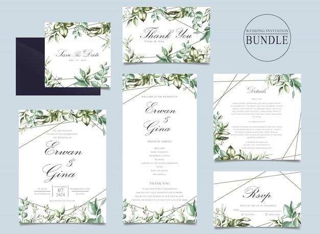 Paquet de cartes d'invitation de mariage avec modèle de feuilles vertes
