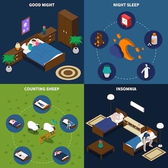 Paquet de cartes isométrique sleep time