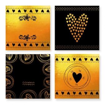 Paquet de cartes de jour de quatre noir et or valentine