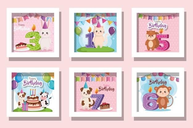 Paquet de cartes joyeux anniversaire avec des animaux mignons et décoration