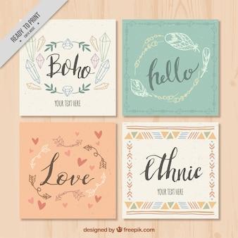 Paquet de cartes de vœux quatre boho