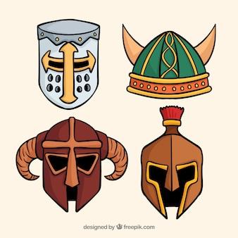 Paquet de casques d'armure dessinés à la main