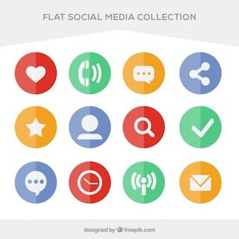 Paquet de cercles colorés plans de médias sociaux