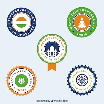 Paquet de cinq insignes d'indépendance rétro de l'inde