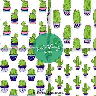 Paquet classique de motifs de cactus dessinés à la main
