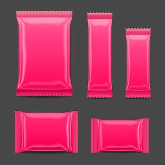 Paquet de collations de nourriture en feuille vierge rose pour chips