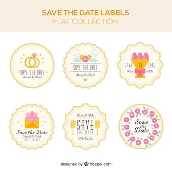 Paquet coloré de belles étiquettes de mariage