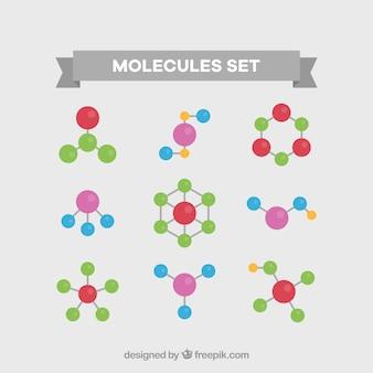 Paquet coloré de molécules plates