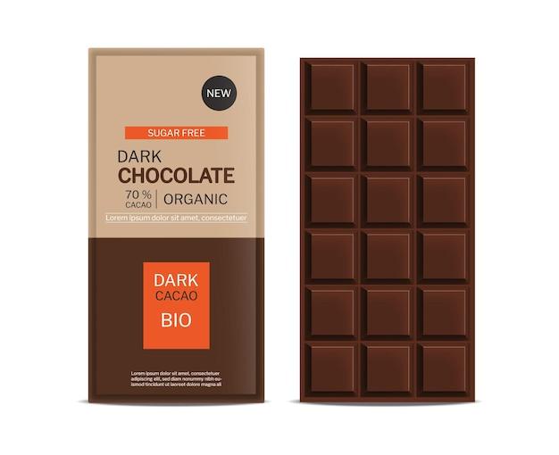 Paquet de conception de placement de produit réaliste de vecteur de barre de chocolat noir maquette