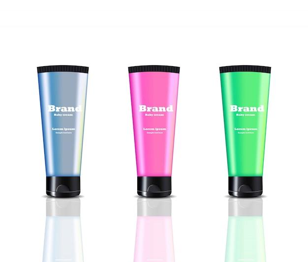 Paquet de cosmétiques marque crème design vector. crème de main ensemble coloré