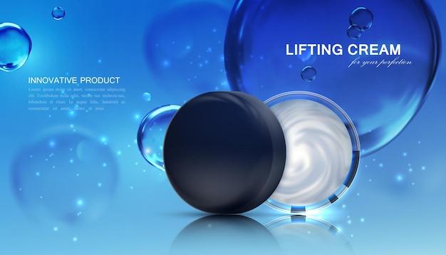Paquet de crème cosmétique avec des bulles d'eau bleues transparentes