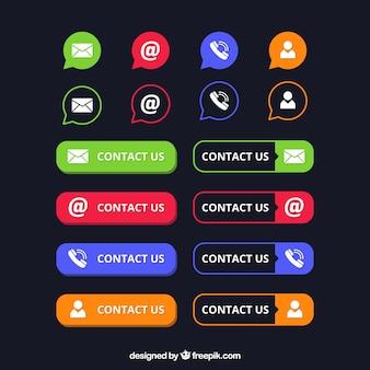 Paquet de boutons et des icônes de contact