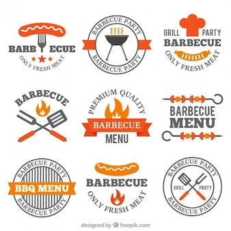 Paquet de décoration badges barbecue plat