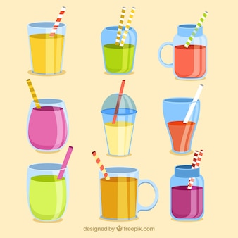 Paquet de différents types de jus de fruits
