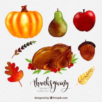 Paquet de dinde avec de la nourriture aquarelle thanksgiving