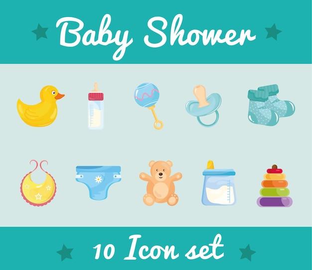 Paquet de dix icônes de jeu de douche de bébé et lettrage