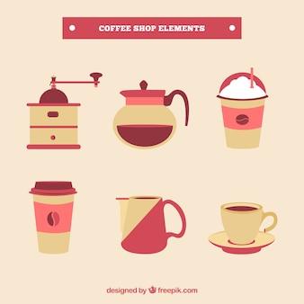 Paquet d'éléments de café en design plat