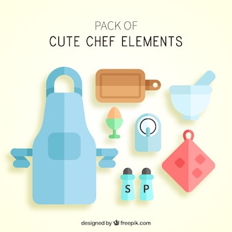 Paquet d'éléments de cuisinier plat